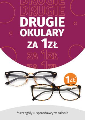 Przy zakupie dwóch par okularów, jedna para szkieł za złotówkę!